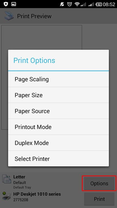 langkah ke sembilan cara print dari hp android dengan printershare