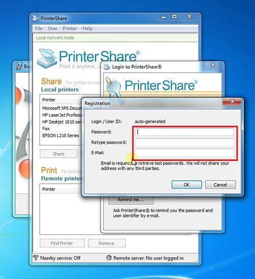 langkah kedua cara print dari hp android dengan printershare