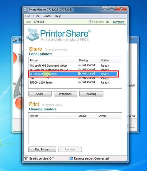 langkah keempat cara print dari hp android dengan printershare