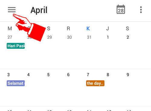 langkah pertama cara menambah tanggal merah di kalender