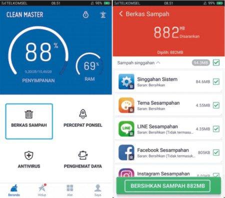 cara membersihkan chace smartphone Android